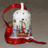 Christmas Ornament Porcelain HUTSCHENREUTHER OLE WINTHER Bell Lot o 5 USA SELLER