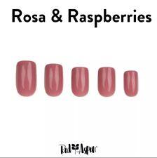 RED ASPEN Reuse Pop On Nail Dashes Medium Square Shiny Rosa Raspberries 24 0 9