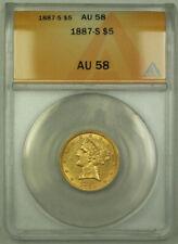 1887-S Liberty Gold Half Eagle $5 Coin ANACS AU-58 RJS