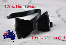 Baby Kids Boy Faux Leather Velvet 2 Layers Black Shining Bow Tie 1-6 Years Old