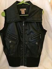 PARIS BLUES Women's FAUX LEATHER motorcycle vest  BLACK size LARGE