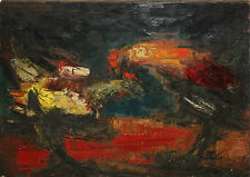 RODOLPHE CAILLAUX-French Expressionist-Large Original Signed Oil-Rooster Fight