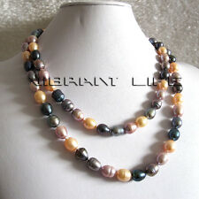 """40"""" 8-10mm Multi Color Rice Freshwater Pearl Necklace Pink Lavender Gray Peacock"""