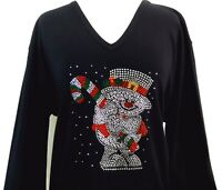 PLUS 3X 3/4 Sleeve VNeck Top Rhinestone Embellished Christmas Candy Cane Snowman