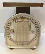 Antique Gold Pelouze Kitchen Scale 50 Lbs x 2 oz  Feb 17, 1985 Glass Model Y-50