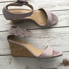 TALBOTS Womens Leather Lilac Snakeprint  Cork Wedge Sandals Size 7-1/2M