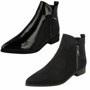 F5R1142 SPOT ON LADIES POINTED TOE ZIP UP LOW HEEL BLACK FLAT WINTER ANKLE BOOTS