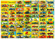 MATCHBOX G TYPE BOXES MAINLY SUPERFAST COLOUR A3 CARD POSTER- FREE U.K. POST