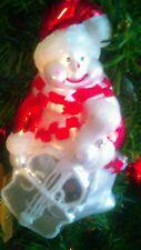White Satin Glass Snowman Glitter Christmas Ornament 5 1/2 in tall