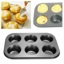 6-Cups Metal Nonstick Cupcake Bake Mold Pan Tray Tin Cakes Pudding Muffin Bun GT