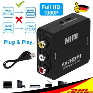 AV to HDMI Converter Composite RCA CVBS HDMI2AV Adapter Full HD 1080p TV Schwarz