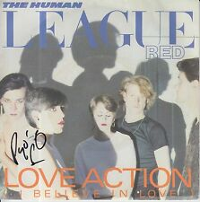 """PHIL OAKEY HAND SIGNED HUMAN LEAGUE 7"""" VINYL LOVE ACTION ( I BELIEVE IN LOVE )."""