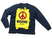 Men's MOSCHINO Jeans Blue Cotton Sweatshirt Big Logo Size M Italy