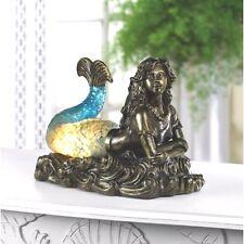 Mermaid Statue Figurine Nautical Lamp Girl Children Night Light