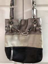 B Makowsky Large Leather Bag Silver Black And White With Silver Hardware