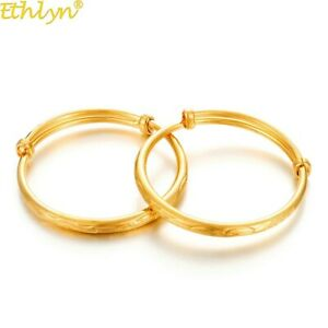 2pcs Lovely High Quality 24k Gold plated Baby Bangle Adjustable Child Bracelet