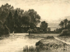 John Fullwood (1854 - 1931) - Signed Early 20th Century Etching, Country River