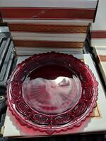 Avon 1876 Cape Cod Collection Ruby Red Dessert Plate set of 10