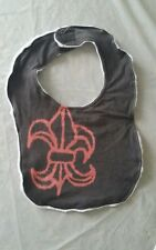 NEW Hand Crafted Unique Baby/Toddler Bib FLOR DE LIS New Orleans repurposed Tee