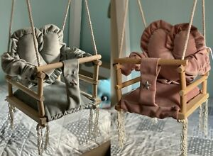 3in1 Kinderschaukel aus Holz Babyschaukel Hängesessel Baby - Schaukel - HERZ