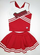 "Child Broncos Cheerleader Uniform Outfit Costume 28"" Top Elastic Waist Skirt S"