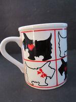 Vintage ceramic Scottie Dog Scottish Terrier Mug. Black White. Made Japan.