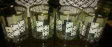 Vintage Retro Turkish Pasabahce Glassware Dominoes Rocks Glasses Set of Four