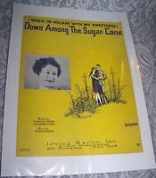 Vintage Old Paper Sheet Music 1929 DOWN AMONG THE SUGAR CANE Peter De Rose