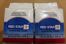 4 LB Red Star Active Dry Yeast TWO   (total 64 oz) Vacuum Packed Bags