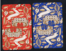 Playing Swap Cards  2 VINT  DECO  REINDEER & FLOWERS GOLD  OVER-LAY   W293  MINT