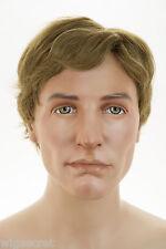 Light Gold Reddish Brown Brunette Short Human Hair Monofilament Hand Tie Men Wig