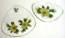 1963 Chance Glass Fiestaware Yellow Mermaid Rose 2 Dishes Plates Decorative