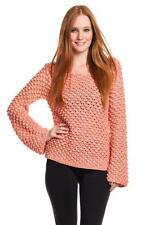 AIKO Women's Amelie Popcorn Stick Sheet Cotton Sweater Natural Light Red Peach