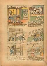 Weaving Loom Métier à tisser Tisserand Toile Tissage Broderie 1935 ILLUSTRATION
