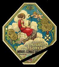Rare Antique Alcohol label: Anisados Y Licores - Palma De Mallorca, Spain