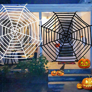 2 Pack Spiders Web Halloween Decoration Outdoor 12 Ft Giant Round Spider Web Bla