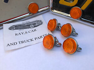 NEW SET 4 OF VINTAGE STYLE AMBER REFLECTOR LICENSE PLATE FASTENERS !