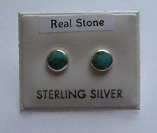 Sterling Silver Round Turquoise Stud Earrings