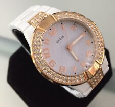 Ladies Guess Mini Prism Watch Genuine Designer W12649L1 Rose Gold Crystals White