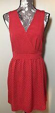Women's ANTHROPOLOGIE Mini Dress Red Black Polka Dot Sleeveless Sz M NWOT