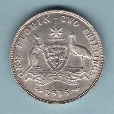 Australia.   1915-H Florin.. 8 Pearls..    aEF - Much Lustre