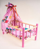 NEW LARGE WOODEN COT,BED,CRIB DOLLS TOY WITH CANOPY