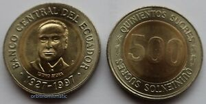 1997 ECUADOR 500 SUCRES SOUTH AMERICA UNC BI-METALLIC COIN UNCIRCULATED NEW G410