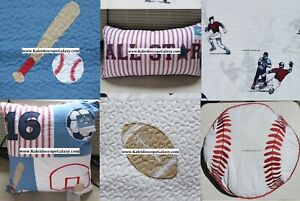 8pc Twin Quilt Sheets Baseball Football Basketball Sports Blue Red Patchwork