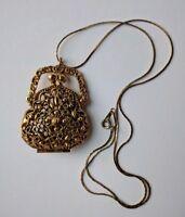 ART Brand Signed Vintage Figural Kiss Lock Purse Perfume Gold Necklace Locket