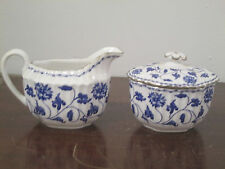 Spode Blue Colonel Platinum bone china 1-sugar, 1-creamer all new