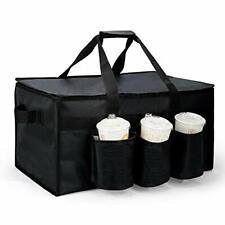 New listing Insulated Food Delivery Bag with Cup Holders for Uber Eats, Black Grocery Bag
