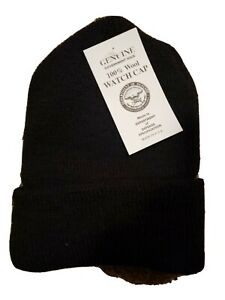 GENUINE GOVERNMENT ISSUE 100% WOOL MILITARY WATCH CAP BLACK