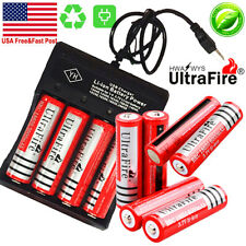 10* UltraFire Powered 18650 Battery 3.7V Rechargeable Li-ion Batteries Chargers