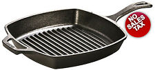 Lodge Cast Iron Grill Pan Pre-Seasoned 10.5inch Square Griddle NO TAX